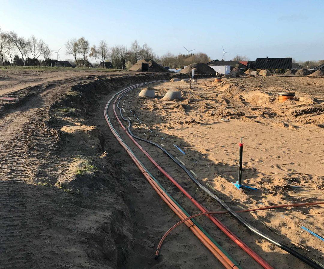 Glasfaserleitungen im Neubaugebiet Medelby Baustelle